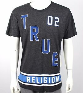 TRUE-RELIGION-JEANS-NWT-Crew-Graphic-Logo-T-shirt-Tee-Top-Grey-M-L-XL-XXL