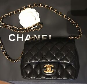 ea540fa78e663e Image is loading Amazing-Chanel-Black-Caviar-Square-Mini-100-Genuine-