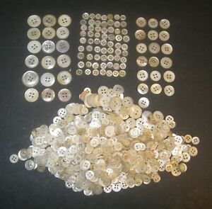 750 Vintage Mother of Pearl MOP Buttons 4 Hole