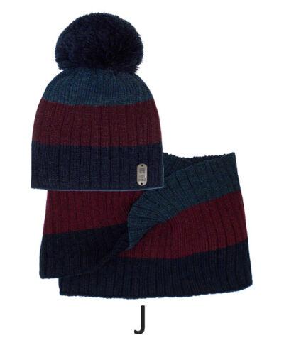 Bommelmütze mit Schal Wintermütze Doppellage Mütze Herrenmütze Winterset AJS
