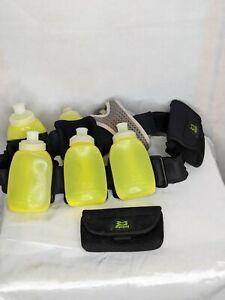 Amphipod-Running-Belt-6-bottles-8oz-Two-Pouches-Belt-Hiking-Hydration-Adjustable