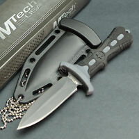 """MTECH 6.5"""" 440 Stainless Tactical Self Defense Double Edge Neck Knife Black"""