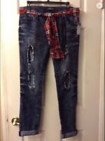 Rue 21 Premier Destroyed Skinny Jeans W/leg Cutouts & Plaid Scarf Belt: 9/10 Jr