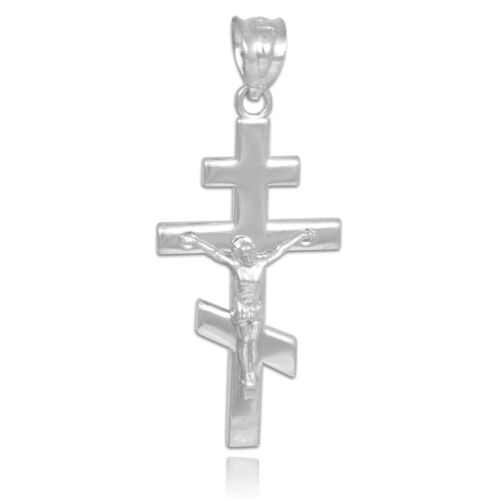 Argent Sterling 925 orthodoxe russe Crucifix Collier Pendentif Made in USA