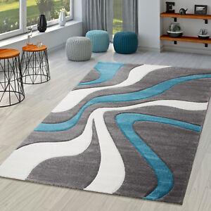 Das Bild Wird Geladen Teppich Tuerkis Grau Weiss Wohnzimmer  Teppiche Modern Mit