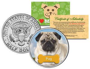 PUG-Dog-JFK-Kennedy-Half-Dollar-Colorized-U-S-Coin-Limited-Edition