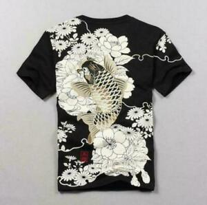 New-Mens-Summer-Cotton-Floral-Chinese-Embroidery-Ethnic-Tops-Casual-Tee-T-Shirt