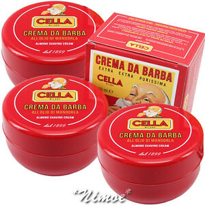 Almond-Shaving-Cream-3-x-150ml-Cream-Barba-alll-039-Olio-Mamdorla-Cella-Milano