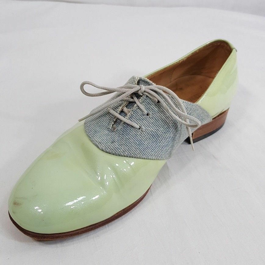 Dieppa Restrepo Oxfords Size 8 Women's Lace Up Green Patent Patent Patent Leather shoes ec3c38