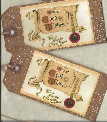 12 PRIMITIVE TAGS~Merry Christmas Good Wishes !~HANG TAGS~folk