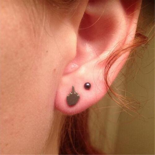 1 Pair Women Man Fancy Punk Cool Alloy Middle Finger Hand Ear Studs Earrings