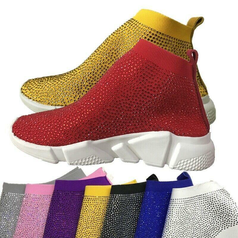 gran descuento Zapatos tenis para mujeres Cristal Tejer Calcetín Deporte Caminar botas botas botas talla dulce aliento  gran descuento