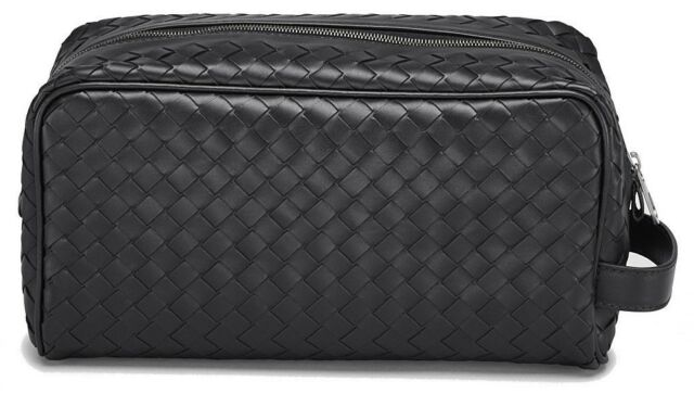 a0bd6c36eead Bottega Veneta Intrecciato Leather Wash Bag Travel Toiletry Pouch Black
