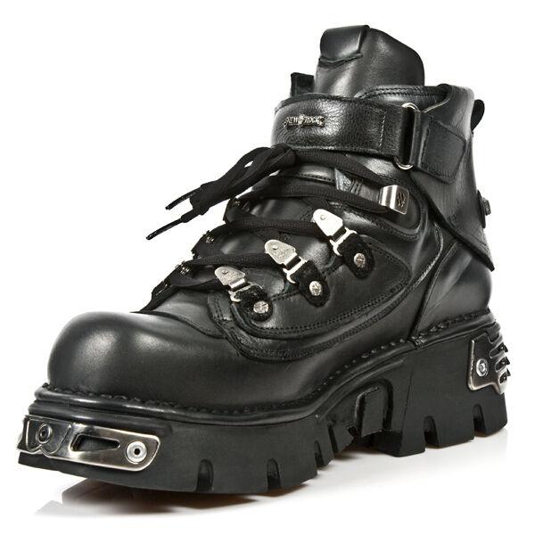 New Rock Hombre metallic leather botas botas botas M.654-S1 e92759
