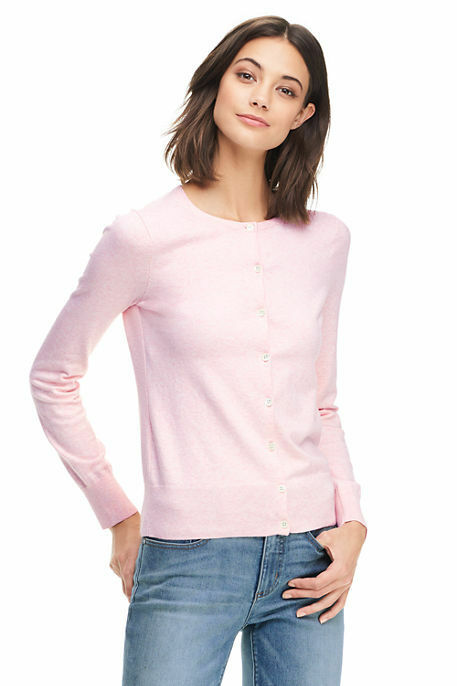 Lands End Women's Supima Crew Cotton Cardigan Sweater Pink Breeze Heather New