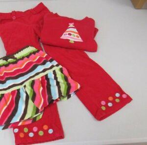 Gymboree-Cozy-Cutie-Winter-Cheer-2pc-Red-Shirt-Pants-Size-5T-EUC-TL29