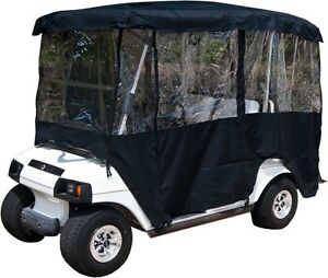 Black Rain Cover Enclosure For Golf Cart W Back Seat