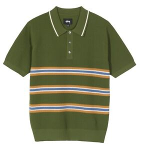 Stussy Montego Stripe Polo 117076 Green Knitted Retro Vintage Casual Sleeves cor