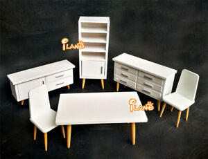 Details About 1 12 Dollhouse Dining Room Furniture Set White Modern Concise Style 6pcs Wd028a