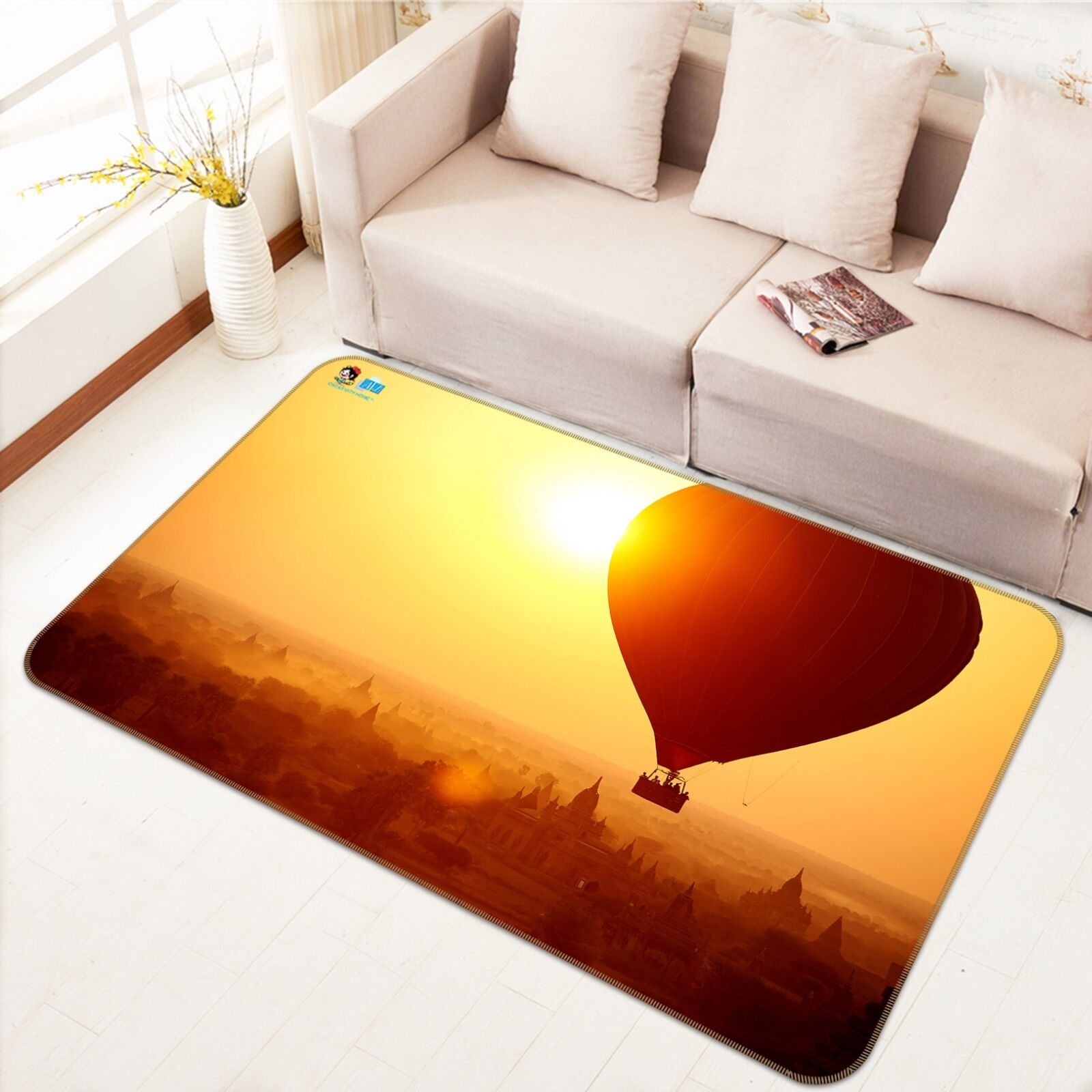 3D Hot Air Balloon 88 Non Slip Rug Mat Room Mat Quality Elegant Photo Carpet UK