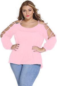 Pink-Plus-Size-Cut-Out-Swing-Arm-Cold-Shoulder-Top-T133PK-Aussie-Seller