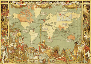Vintage old 1886 british empire map of the world giant poster print image is loading vintage old 1886 british empire map of the gumiabroncs Images