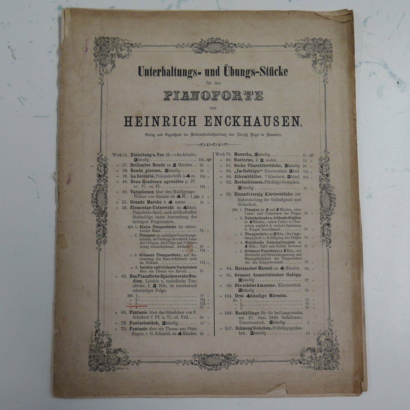 Heinrich enckhausen op.63 Nr 3, des Piano spielers spielers spielers Erste]  tienda en linea