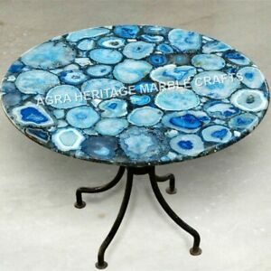 Blue Agate Marble Round Coffee Center Table Top Handmade Furniture