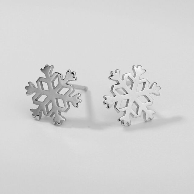 1Pair Fashion Women Snowflake Shape Ear Stud Snow Flower Earrings Jewelry