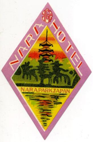 1950 c JAPAN~ Colorful // Vibrant Old Luggage Label Nara Hotel ~NARA PARK