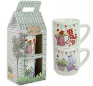 She-Shed-Set-Of-2-Stackable-Ceramic-10oz-Mugs-Kitchen-Tea-Coffee-Drinking-Mugs