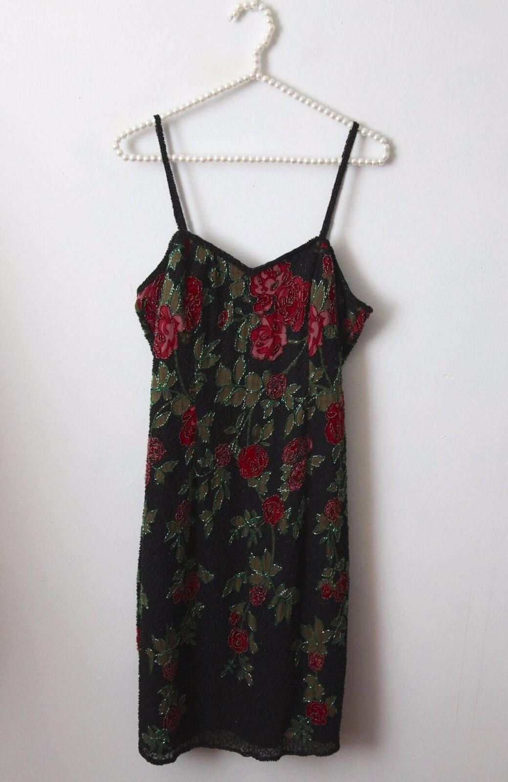 5949ff3d974c64 Vtg schwarz Grün rot Floral Silk Beaded Sequin Evening Party Dress M  Cocktail