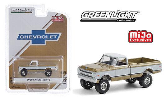 2020 Greenlight MiJo 1969 Chevrolet K10 Pickup Truck Black /& Silver 1:64 Scale