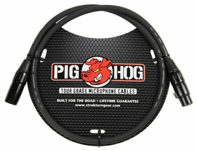 5-Pack Pig Hog 3ft Microphone Cable XLR Lifetime 8mm Tour Grade PHM3 Black