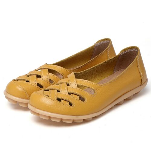 Womens Casual Slip On Leather shoes Moccasins Comfy Driving Flat Loafers Walking