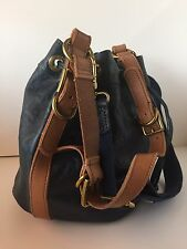 "FOSSIL ""Maddox"" Blue Leather Bucket Drawstring Shoulder Tote Purse Bag"