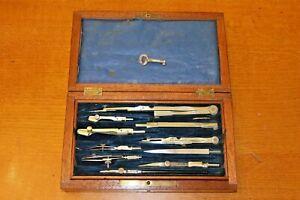 Antique-Vintage-Mahogany-Box-Technical-Drawing-Draughtsman-Set-Engineering