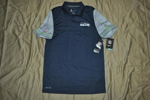 271f78e723b Nike Mens Seattle Seahawks Sideline Navy Polo 746202 419 Size Small NWT