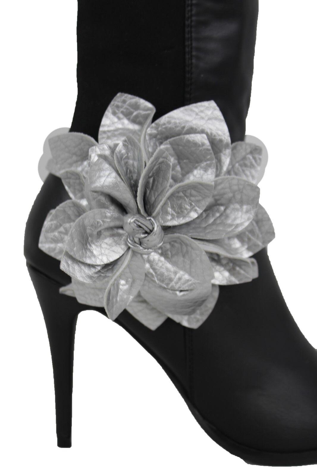 Women Boot Bracelet Silver Faux Leather Shoe Flower Rose Charm Tie Wrap Fabric