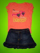 "EUC ""My Future Looks Bright"" Baby Girls 2 Pc Outfit Set Shirt Skirt Newborn Cute"