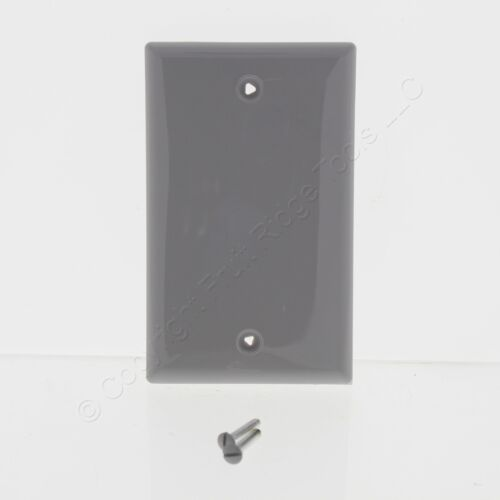 Cooper Gray 1G Standard Blank Thermoplastic Unbreakable Wallplate Cover 5129GY