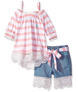 Girls/' Baby Toddler Fashion Top and Short Set Polo Assn U.S