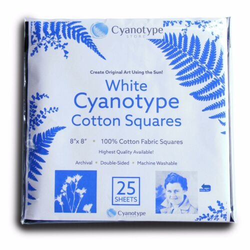 8x8 Cyanotype Cotton Squares White, 25 pack