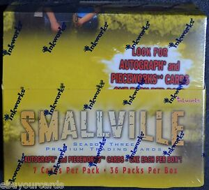 Smallville-Season-3-Sealed-Box-Pieceworks-inkworks-Autograph-Auto-Trading-Cards