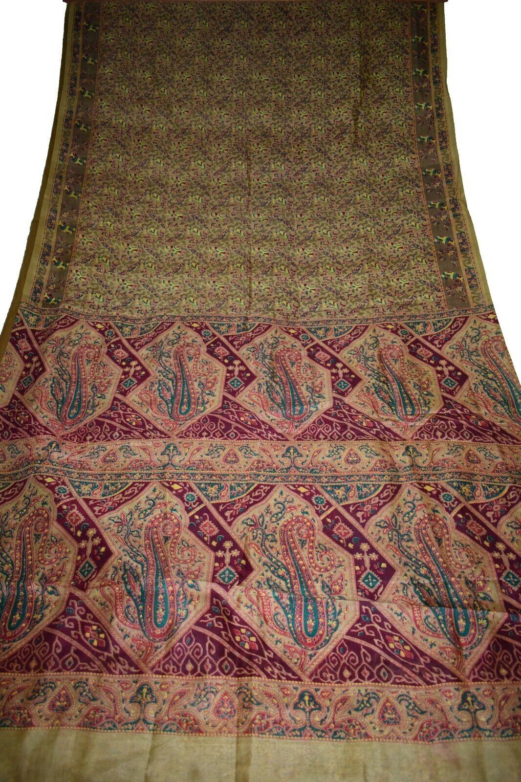 Vintage Printed Saree Brown Pure Silk Floral Print Sari Design Craft PR-6649