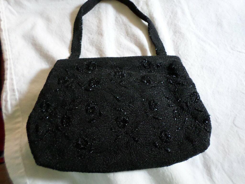 Vintage Le Gout du Jour Paris handmade micro beaded evening bag purse black