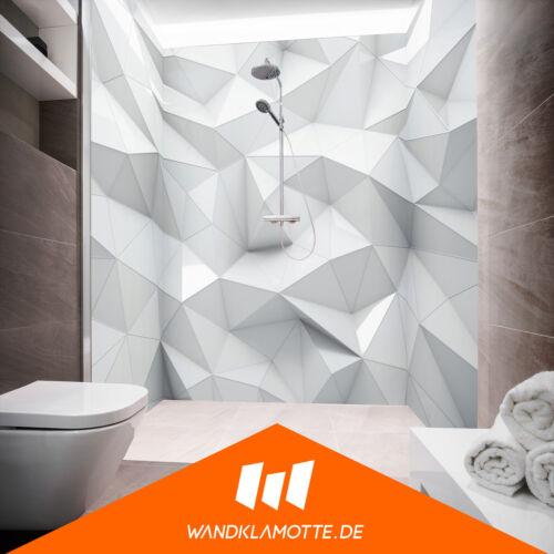 Eck Duschrückwand drei Platten Alu Bad Dusche Wand Glass Poly White