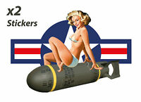 VINTAGE PIN UP GIRL VINYL STICKER DECAL RETRO WW2 STYLE X2 TWIN PACK NO: 002