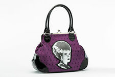 Rock Rebel Bride of Frankenstein Purple Lace Kiss Lock Purse
