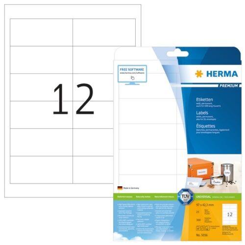 HERMA 5056 Etiketten Premium A4 97x42,3 mm weiß Papier matt 300 St.